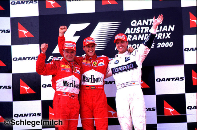 Schumacher and Barrichello on podium