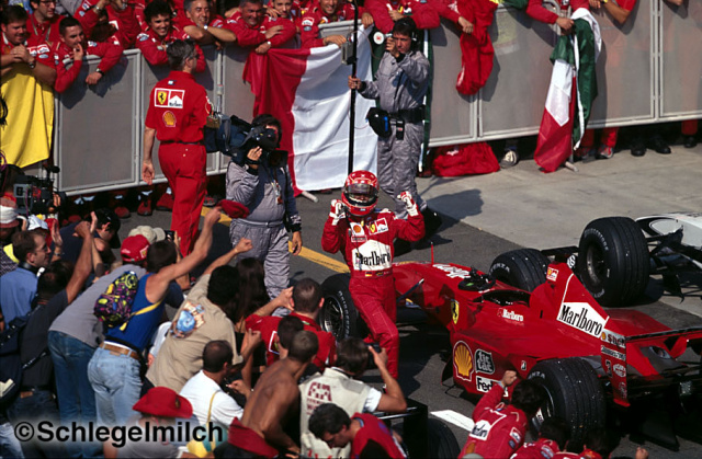 Michael celebrates winning Italian GP