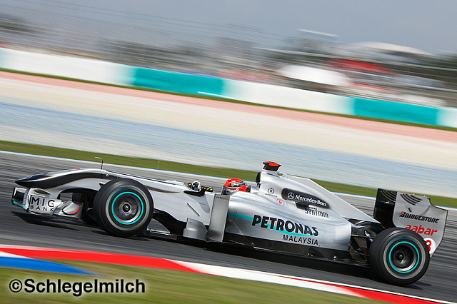 Michael Schumacher driving a Mercedes F1 Car