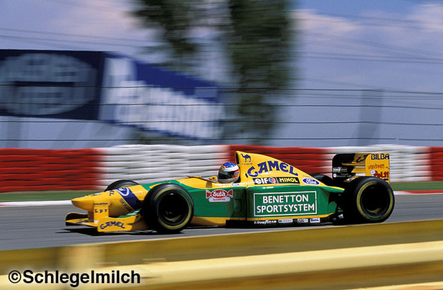 Michael Schumacher driving a Benetton