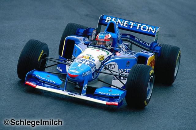 Michael Schumacher driving a Benetton